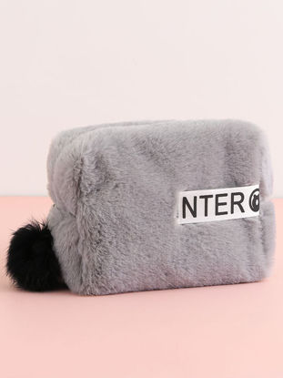 Picture of 1Pc Fashion Plush Storage Bag Portable Cosmetic Makeup Container Zipper Bag-Size: One Size