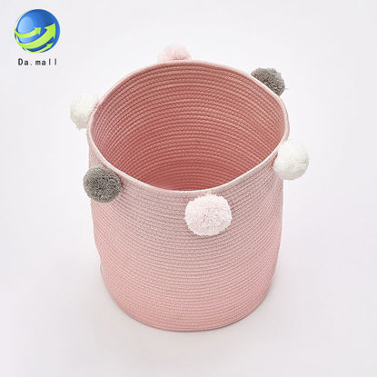 Picture of 1Pc Laundry Bucket Solid Color Plush Ball Decor Toys Storage Basket-Size: One Size