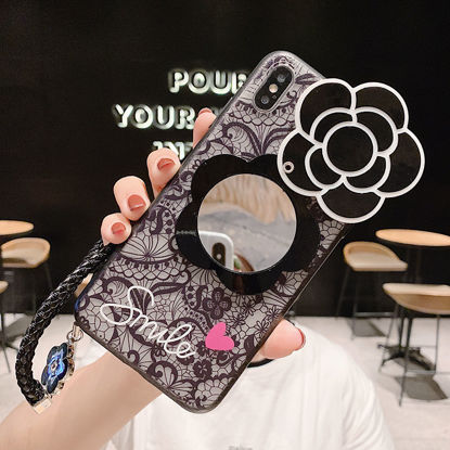 Picture of Samsung S10/S10 Plus/M10/S9/S9 Plus Phone Cover Lace Camellia Pattern Mirror Phone Case-Size: SamsungGalaxy A70(2019)