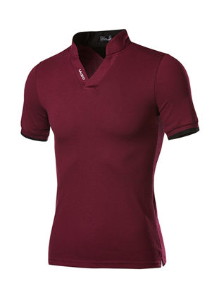 Picture of Men's Polo Shirt Color Block Short Sleeve All Match Stylish TopSize: XL