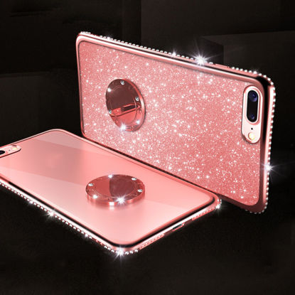 Picture of Samsung Series Phone Case with Holder Shimmer Sequins Protective Cover-Size: SamsungGalaxy A70(2019)