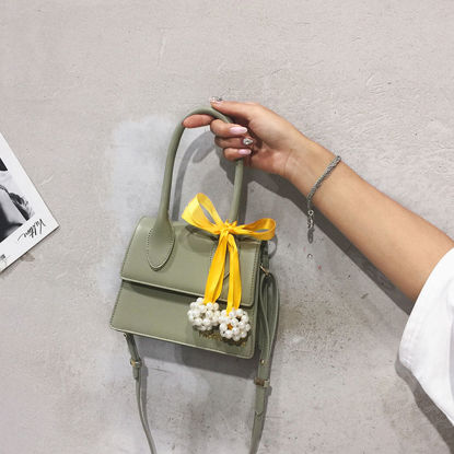 Picture of Women's Handbag Fashion Light Solid Color Bow Scarf Imitation Pearl Decor All-Match Comfortable Bag-Size: One Size