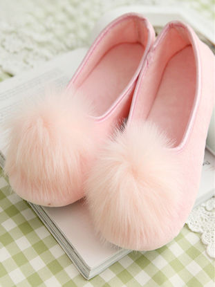 Picture of One Pair Women's Slippers Lovely Plush Ball decor Comfy Home Shoes-Size: 37-38