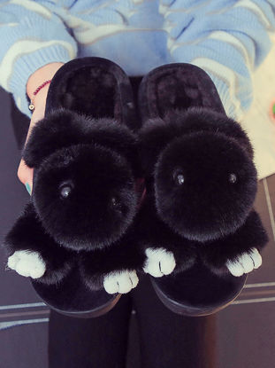 Picture of Women's Slippers Cute Design Comfy Soft Rabbit Warm Antiskid Soft Shoes-Size: 36-37
