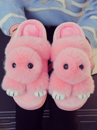 Picture of Women's Slippers Cute Design Comfy Soft Rabbit Warm Antiskid Soft Shoes-Size: 38-39