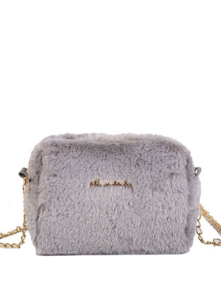 Picture of Women's Crossbody Bag Sweet Cute Solid Color Plush Chain Bag-Size: One Size