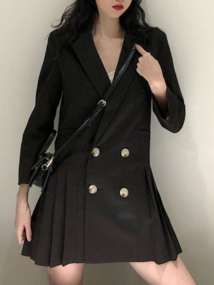 Picture of Women's Blazer Solid Color Three Quarters Sleeve Button Pleated BlazerSize: XL