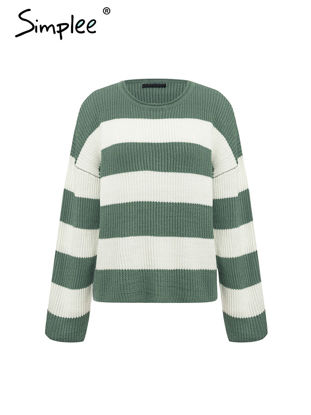 Picture of Women's Pullover Slim O Neck Long Sleeve Striped Loose Fashion Knitwear