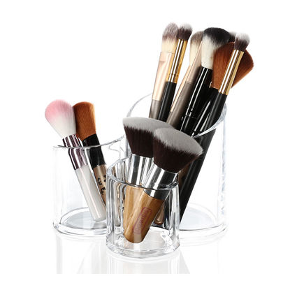 Picture of Women's Clear Makeup Box Multi-function Plastic Cosmetic Pot Make-up Tool-
