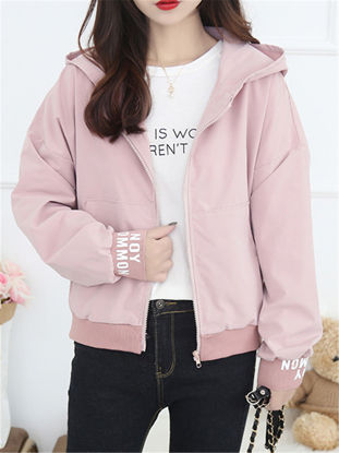 Picture of Women's Bomber Jacket Word Pocket Hooded Jacket-Size: S