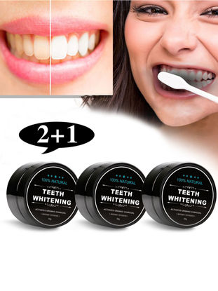 Picture of 3Pcs Teeth Whitening Powder Organic Activated Charcoal Smoke Coffee Stains Removal-