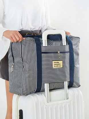 Picture of Travel Storage Bag Large Capacity Striped Pattern Clothing Bag-
