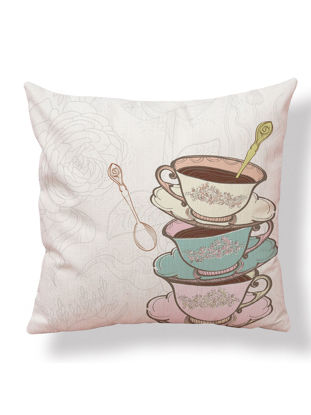 Picture of Throw Pillow Case Fresh Style Coffee Pattern Cushion Cover Home Living Room Sofa Car Seat Decor-Size: 45*45(W*L)cm