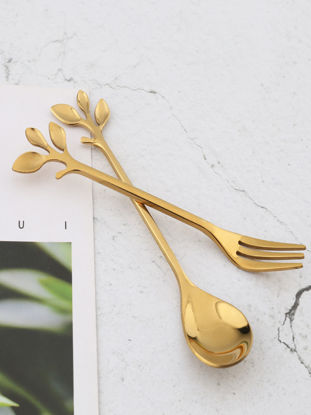 Picture of 8 Pcs Spoons and Forks Set Fresh Style Branch Design Spoons and Fruit Forks SetSize: One Size
