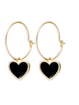 Picture of Women's Hoops Heart Shape Simple Design Sweet Fashion Earrings-Size: One Size
