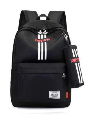 Picture of Boy'sSchoolBag Simple Design Striped Unisex Zipper BagSize: One Size