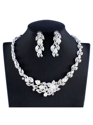 Picture of 3 Pcs Women's Jewelry Set Imitation Pearl Necklace Stylish Fine Earrings All Match Accessory-Size: One Size