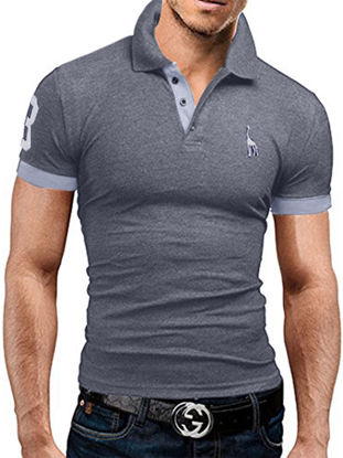 Picture of Men's Polo Shirt Turn Down Collar Short Sleeve Comfy Thin Top-Size: M