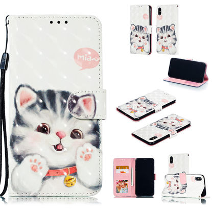 Picture of iPhone XS/XR/XS Max/X/8/8 Plus/7/7 Plus/6/6S/6 Plus/6S Plus Phone Cover Cartoon Cat Pattern Wallet Type Case-Size: iPhone XS Max