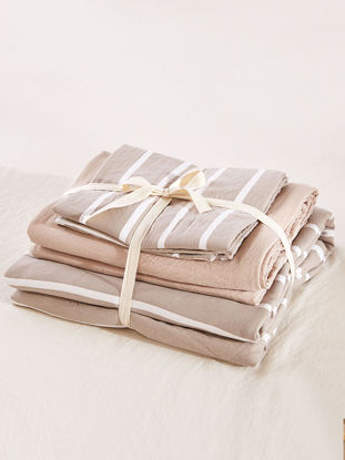 Picture of 4Pcs Bedding Set Classic Retro Style Striped Comfortable Soft Bed Cover Set-Size: 2#2m Bed