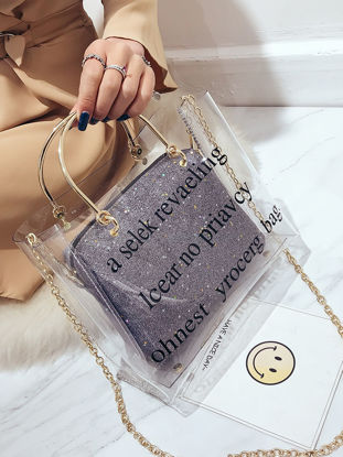 Picture of Women's Handbag All Match Letter Pattern Sequined Chic Versatile Bag-Size: One Size