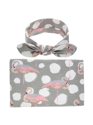 Picture of Baby's 2 Pcs Set Blanket Fresh Style Photographic Floral Fruit Pattern Comfy Baby's BlanketSize: One Size