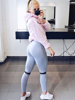 Picture of Women's Sports Pants Quick Drying Solid Color Ruching Stylish Yoga Pants-Size: M