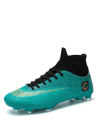 Picture of  Men's Football Cleats Patchwork Design Comfortable High Top Sports Shoes-Size: 41