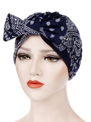 Picture of Women's Hijab Simple Contrast Color Fashion Printing Bow Decor Muslim HeadscarfSize: One Size