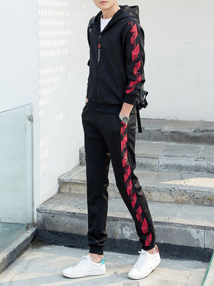 Picture of Men's 2Pcs Sports Set Zipper Opening Hooded Casual Jacket Breathable Comfy Pants Set-Size: M