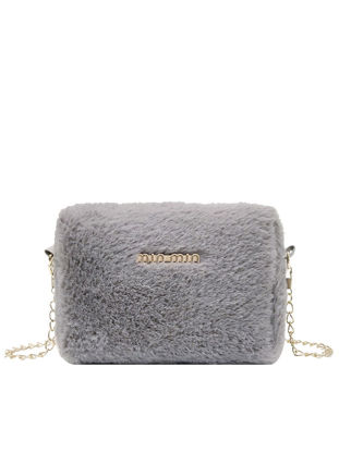 Picture of Women's Crossbody Bag Solid Color Letter Pattern Furry Design Stylish Bag-Size: One Size