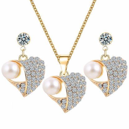 Picture of 3 Pcs Women's Jewelry Set Heart Design Earrings Ladylike Rhinestone Necklace Accessories-Size: One Size