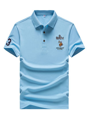 Picture of Men's Polo Shirt Solid Color Number Letter Embroidery Short Sleeve Top-Size: L