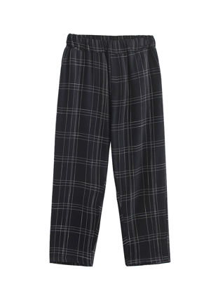 Picture of Women's Wide Leg Pants Loose Plaid High Waist Trousers-Size: XL