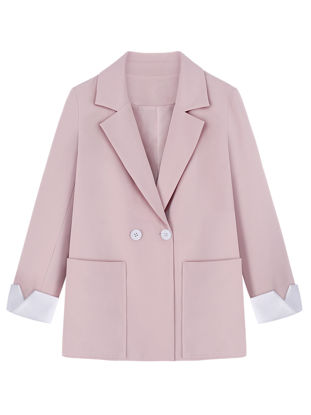 Picture of Women's Blazer Double Breasted Notched Collar Loose Outerwear-Size: L