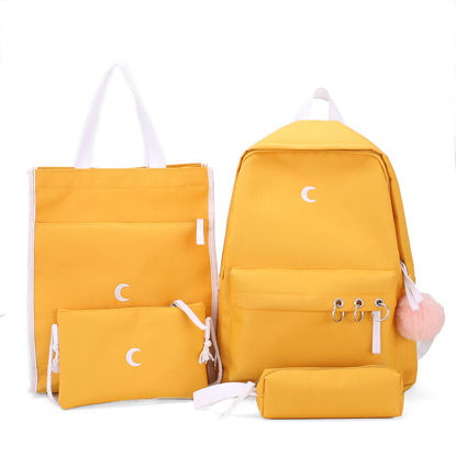 Picture of 4Pcs Women's Backpack Set Casual Plain Style Solid Color Zipper Closure Bags Set-Size: One Size