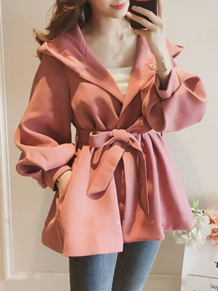 Picture of Women's Trench Coat Fashion Long Sleeve Solid Color Coat