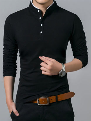 Picture of Men's Polo Shirt Solid Color Casual Light Weight Long Sleeve Polo Shirt - Size: L