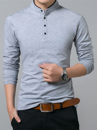 Picture of Men's Polo Shirt Solid Color Casual Light Weight Long Sleeve Polo Shirt - Size: 3XL
