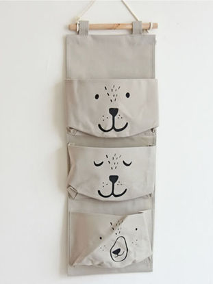 Picture of Storage Bag Cute Smiling Face Themed Three Pockets Wall Bag
