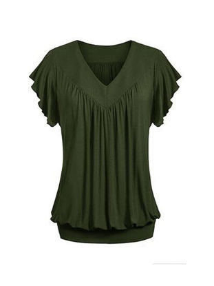 Picture of Women's T Shirt Plus Size V Neck Short Sleeve Solid T Shirt - Size: S