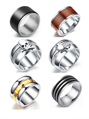 Picture of Men's Ring Set 6 Pcs Stylish Design All Match Personality Ring Accessory - Size: 8