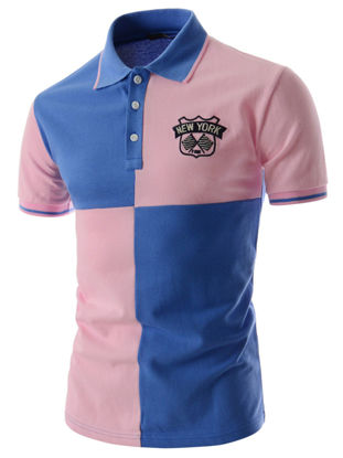 Picture of Men's Polo Shirt Casual Comfy Chic Color Block Fashion Polo Shirt - Size: L
