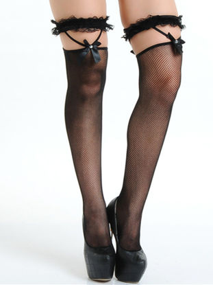 Picture of Women's Fancy Stockings Lace Hem Decor Hollow Out Sexy Lingerie Stockings - Size: Free