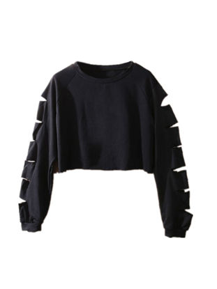 Picture of Women's Sweatshirt Solid Color Hollow Out Slim Plus Size Top - Size: 5XL