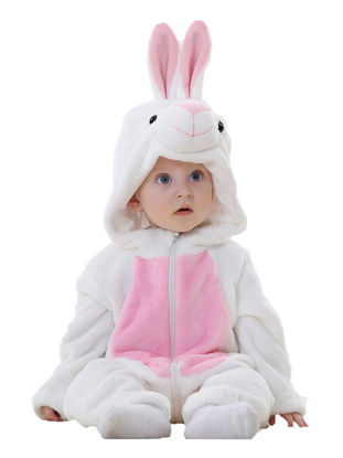Picture of Baby Baby Girl's Jumpsuit Cute Rabbit Sculpt Flannel Long Sleeve Comfy Breathable Zipper Hooded Romper - Size: 95cm