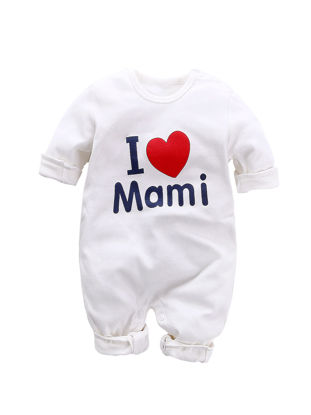 Picture of Baby's Bodysuits Cute Cartoon Pattern O Neck Long Sleeve Comfy Romper - Size: 66cm