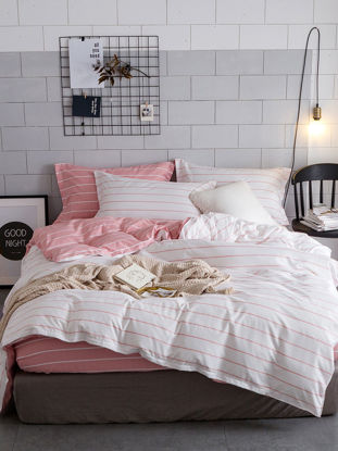 Picture of 4 Pcs Bedding Set Simple Style  Brief Stripe Pattern Soft Cozy Sheet Set - Size: 1#8m Bed