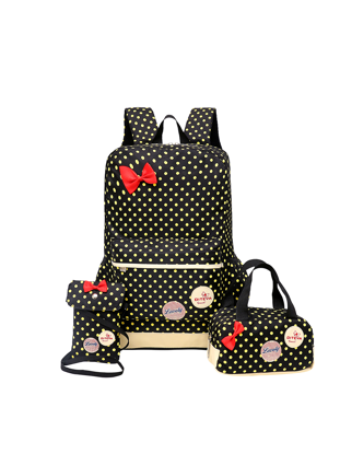 Picture of Girl's Backpack Set 3 Pcs Polka Dot Cute Lightweight School Bags - Size: One Size