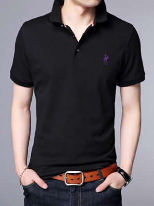 Picture of Men's Polo Shirt Solid Color Short Sleeve Turn Down Collar Slim Fashion Top - Size: M